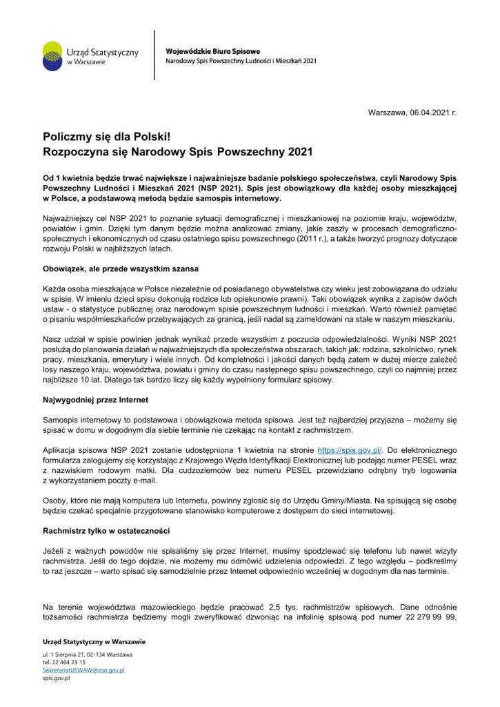 Pakiet 3 Informacja prasowa pocz─utek NSP 1 1
