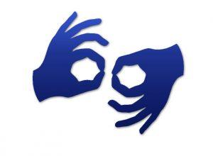 niebieskie dłonie na białym tle
